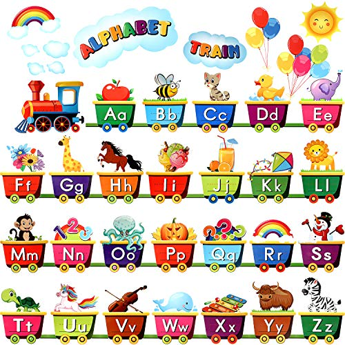 37 Pieces Train Alphabet Bulletin Board Display Set, Early Learning Bedroom Nursery Playroom Decorations and 120 Pieces Glue Point Dots for Kids and Teens Rooms and Classrooms Decoration