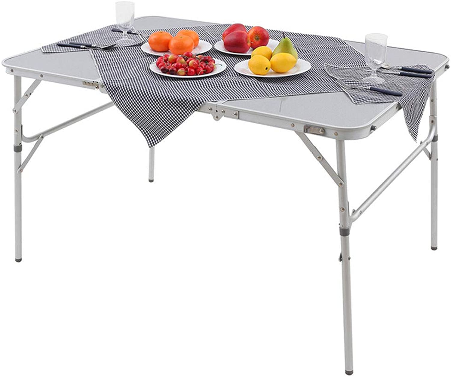 Aluminum Alloy 3Fold Camp Table with Carry Bag, Adjustable Height, Portable Sturdy Compact Storage for Camping, Outdoor, Picnic, Vacation, Call Out Length