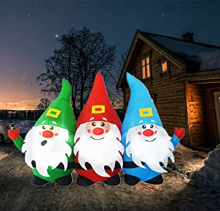 N\C 3 Connected Santa Claus Inflatable Decoration 7.5ft Length Christmas Holiday Outdoor Yard Decor Built in LED Glow Gard...