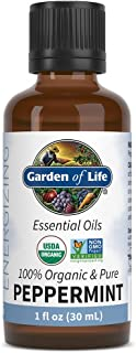 Garden of Life Essential Oil, Peppermint 1 fl oz (30 mL), 100% USDA Organic & Pure, Undiluted & Non-GMO - for Diffuser, Aromatherapy, Meditation - Energizing, Invigorating, Refreshing, Uplifting