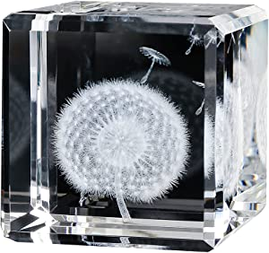 3D Dandelion Paperweight(Laser Etched) in Crystal Glass Cube Birthday (2.4x2.4x2.4) (Dandelion)