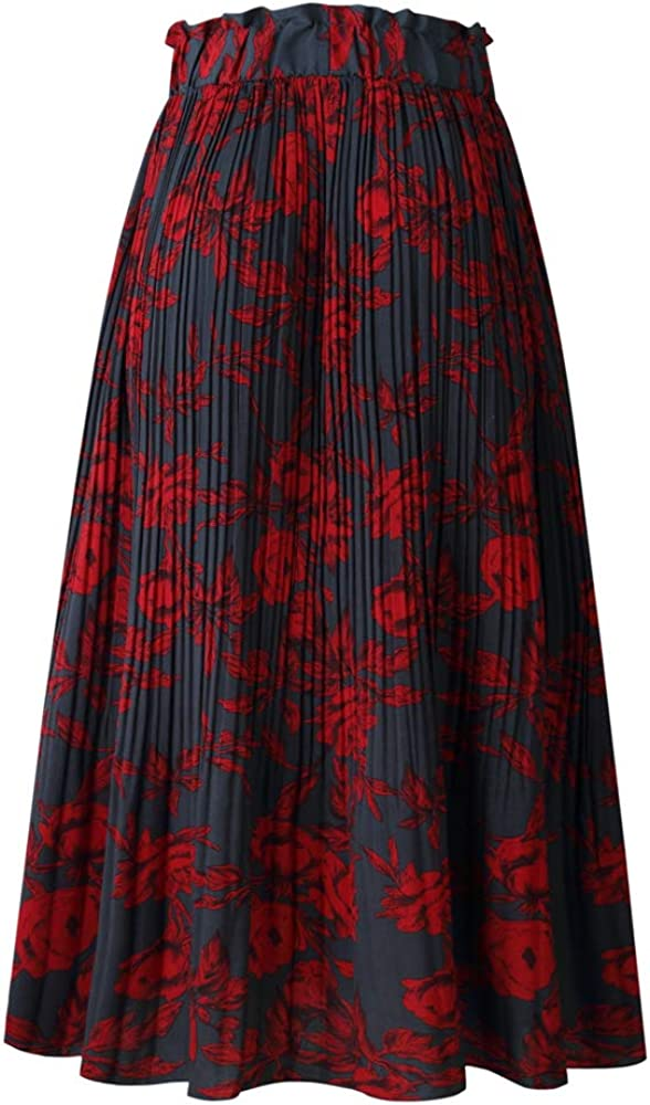 HamLen Fold Long Skirts with Elastic Waisted for Women Bohemian Point A Line Maxi Casual Skirt