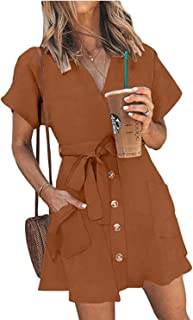 TOPUSH Womens Casual Stripe V Neck Short Sleeve Tie Waist Wrap Button Down Mini Dress with Pocket