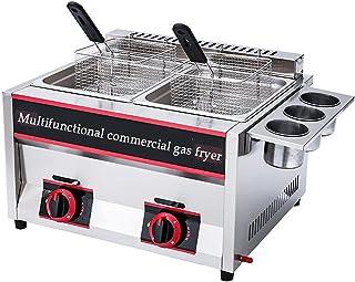 Friteuse à gaz Commerciale, friteuse à Double Cylindre en Acier inoxydablefriteuse à gaz Multifonction Facile à Nettoyer G...
