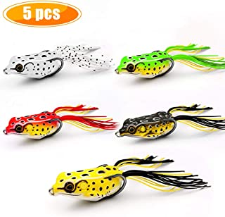 Yagool Frog Fishing Lure, Soft Scum Bass Topwater Floating Weedless Baits Kit 2.36 in
