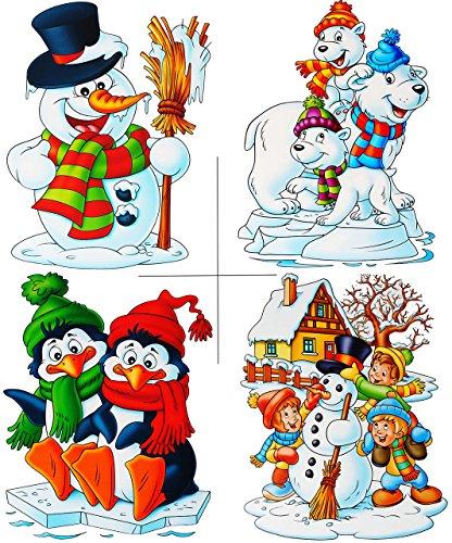alles-meine.de GmbH 4 versch. Stück: statisch haftende XL Fensterbilder -  Winter & Weihnachtsmotive  - Eulen / Eisbären / Schneemann / Pinguine - wiederverwendbar + selbstkleb..