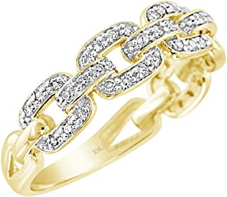 Brilliant Expressions 10K White, Rose or Yellow Gold 1/5 Cttw Conflict Free Diamond Squared Chain Link Fashion Ring (I-J Color, I2-I3 Clarity)