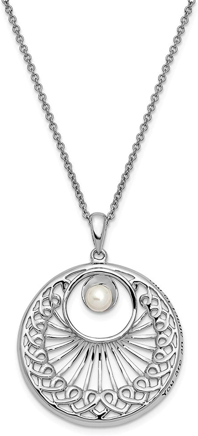 925 Sterling Silver Antiqued Cultured Pearl You Are An Angel To Me 18in Necklace