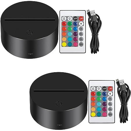 Thlevel 2 Pezzi 3D Night LED Lampada Base 7 Colori Regolabile Lampada a LED con Telecomando e Cavo USB, 3D Night Light Base Decorazione Domestica Luce