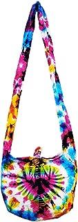 Thai Hippie Tie Dye Hobo Sling Crossbody Shoulder Bag Purse Handmade Mix Pattern Cotton Button Zip Gypsy Boho Messenger Small
