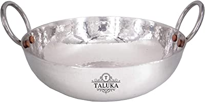 Taluka Stainless Steel Hammered Sandwich Bottom Heavy Gauge Kadhai Cookware (1500 ml)