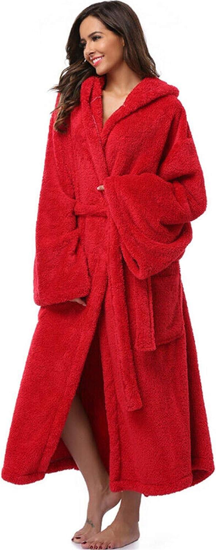 FUNEY Lapel Thicken Warm Pocket Belt Cotton Long Robe Bathrobe Soft Sleepwear V-Neck Pajamas Loungewear for Women