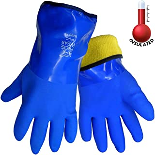 Frogwear 8490 Insulated & Waterproof Blue Tripple Dipped Work Gloves, Ultra Flexible,..