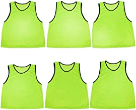 Crown Sporting Goods Pack of 6 Adult Size Sports Scrimmage Pinnies with Mesh Storage Bag