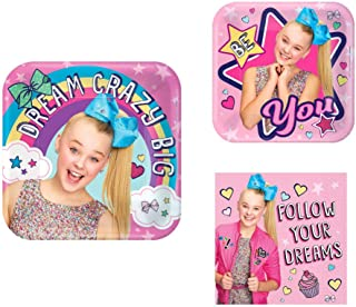 DW JoJo Siwa Birthday Party Pack for 16 Guests: 16 Square Dinner Plates, 16 Square Dessert Plates, 32 Luncheon Napkins