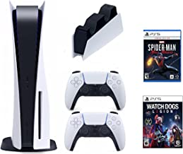 PS5 Bundle: PS5 Disc Console DualSense Wireless Controller Watch Dogs: Legion and Spiderman: Miles Morales TIVDIO ایستگاه شارژ برای PS5