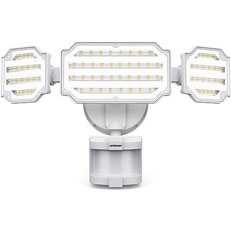 LEPOWER 45W LED Security Lights Motion Sensor Light Outdoor, 4500LM Motion Flood Light, 5000K, IP65 Waterproof, Durable Adjustable 3 Head Sensor Light Motion Detector for Garage, Yard, Patio, Porch