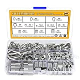 Sutemribor 304 Stainless Steel Wire Rope Cable Thimbles and 6 Sizes Aluminum Crimping Loop Sleeve Assortment Kit, 240PCS