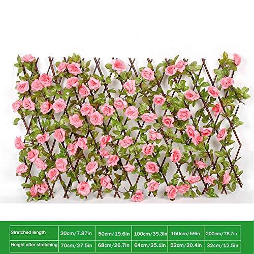 Hearthrousy Sichtschutzhecke Efeu Dunkelgrün Künstliche Hecke Ausziehbarer Rahmen mit künstlichen Blütenblättern Erweiterter Spalier Sichtschutz Windschutz Wanddekoration für Balkon Zaun