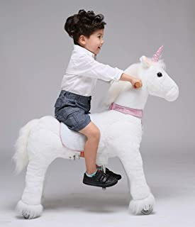 UFREE Horse Action Pony, Ride on Toy, Mechanical Moving Horse, Giddyup for Children 4 to 9 Years Old, Medium Size, Height 36 Inch (Pink Horn Unicorn)