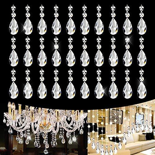 30 PCS Clear Crystal Glass Pendants Beads Teardrop Chandelier Pendants, K9 Crystal, Not Acrylic, Not Plastic - 38 mm