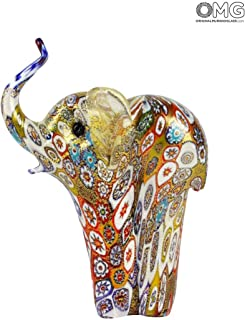 murano glass elephant gold