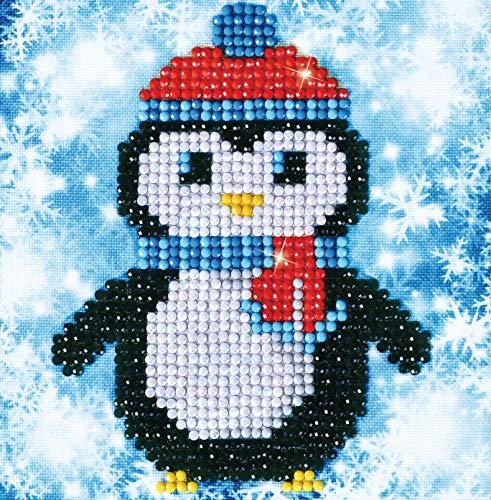Pracht Creatives Hobby DD2-023 - Diamond Dotz Weihnachts Pinguin, funkelndes Diamantbild zum Selbstgestalten, ca. 13,5 x 13,5 cm groß, Malen mit Diamanten, ideal für Anfänger