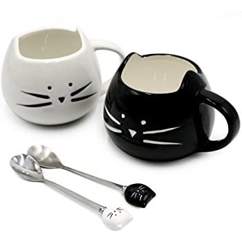 Koolkatkoo Cute Cat Mug Ceramic Coffee Mugs Set Gifts for Women Girls Cat Lovers Funny Small Cup with Spoon 12 oz Black and White …