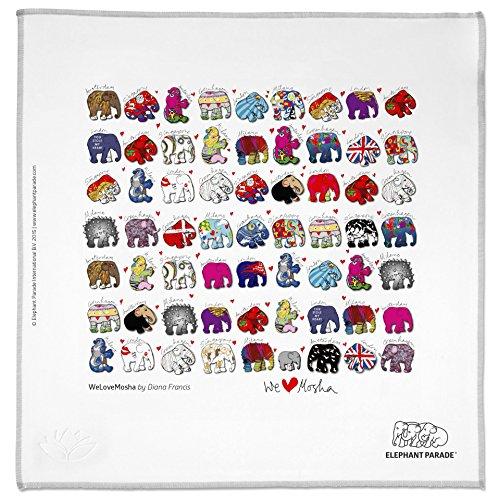 HAPPY WIPEY - Großes Microfaser Brillenputztuch (25x25cm, waschbar) + Microfaser-Pouch(10x18cm) in Profi-Qualität mit kunstvollem Elephant Parade Motiv 'We Love Mosha'