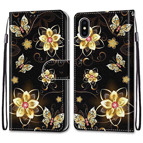 """Nadoli Bunt Leder Hülle für iPhone Xr 6.1"""",Cool Lustig Tier Blumen Schmetterling Entwurf Magnetverschluss Lanyard Flip Cover Brieftasche Schutzhülle mit Kartenfächern"""