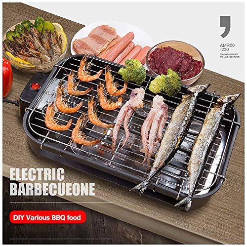 Smoke-Free Electric Barbecue Grill Innen Nonstick Elektro-s, Thermostat mit verbessertem Speedy Heat Up, Grill Net und Fettauffangschalen, Innengrill und Nonstick Wie im TV gesehen lili