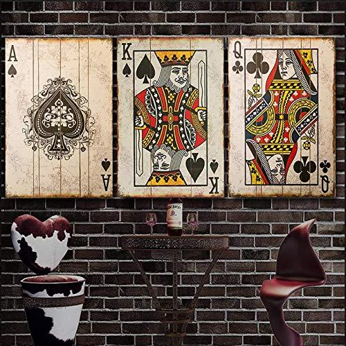 CHMIJ Pintura sobre Lienzo Vintage Poker Naipes Carteles e Impresiones Imágenes artísticas de Pared para el diseño del hogar Bar Pub Decoración 40x60cmx3 Sin Marco
