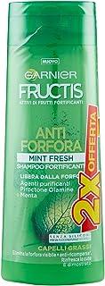Garnier Fructis MINT Fresh Shampoo Antiforfora con Acido Salicilico e Foglie di Menta, senza Parabeni, Confezione da 2 x 2...