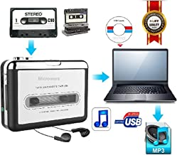 Cassette Player, Lyyes USB Cassette to MP3 Converter with Earphone Compatible with Laptop and PC