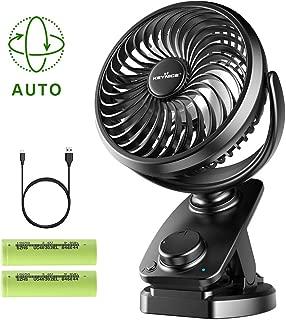 KEYNICE Clip on Fan USB Desk Fans Table Personal Fan with Rechargeable 5000mAh Battery, Cooling Fan Auto Rotation Stepless Speed, Quiet Fan for Stroller, Office, Home, Dorm, Camping- Black