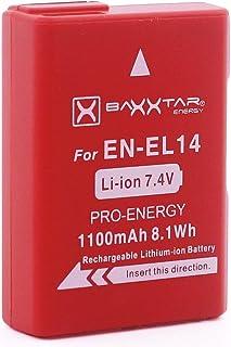 Baxxtar Pro Batería para Nikon EN-EL14 y EN-EL14a (1100mAh) Sistema Inteligente para D3100 D3200 D3300 D3400 D3500 D5100 D5200 D5300 D5500 D5600 etc.