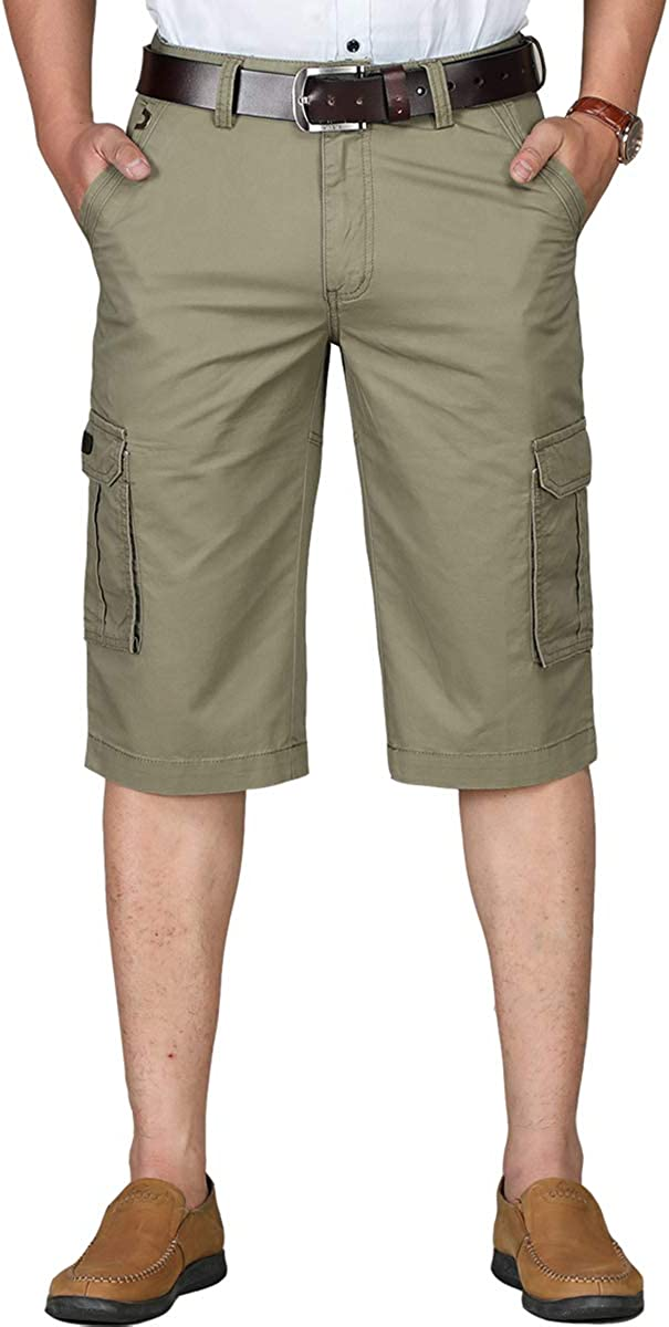 Cargo Shorts for Men with Pockets 100% Cotton Big and Tall Long Shorts for Men Below Knees No Belt
