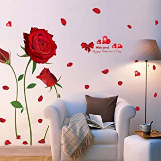 Beautiful Red Rose Flower Sticker 3d Wall Stickers Wedding Home Wall Decoration diy Mural Butterfly Floral Paintings