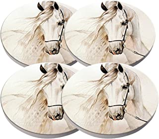 KristiPeterson Andalusian horse white grey Custom Fashion Personalized Exquisite Ceramic Coasters 4 Pieces Sets Of Christmas Gifts