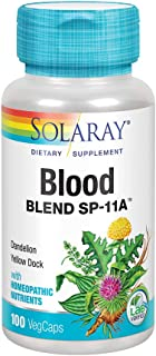 Solaray Blood Blend SP-11A with Homeopathic Nutrients | Healthy Blood Sugar & Cleansing Support | 50 Serv | 100 VegCaps