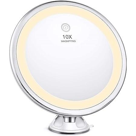 BESTOPE Miroir Grossissant 10x Miroir Lumineux Maquillage LED 3 Modes d'éclairage , 360°Rotation Ajustable, Fonctionnant sur Piles, Portable sans Fils Miroir Grossissant Lumineux