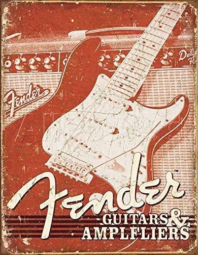 20 x 30 cm Metal Tin Sign,Fender Guitarra Eléctrica Instrumento Amplificadores Arte...