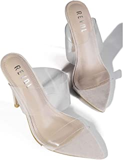 Clear Pointed Toe Sandals Stiletto Heels Transparent Strap High Heels Slip on Mules for Women
