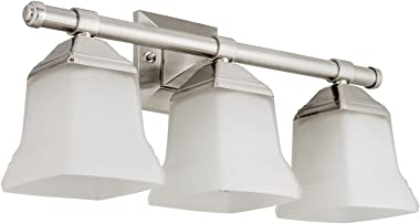 "Sunlite 46063-SU Bathroom Vanity Light Fixture 20"" Bell Shaped Frosted Glass, 3 Lights, Brushed Nickel Finish"