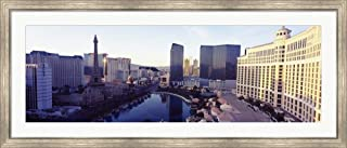 Hotels in a City, The Strip, Las Vegas, Nevada, USA 2010 by Panoramic Images Framed Art Print Wall Picture, Silver Scoop Frame, 56 x 24 inches