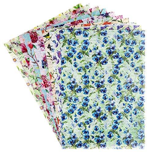 Ideen mit Herz Dekorpapier   Motiv-Transparentpapiere Deluxe   geprägt   farbig   Spotlack-veredelt   DIN A4   150g/m²   10 Bogen   Bastelpapier mit Muster (Frühjahrsblumen)