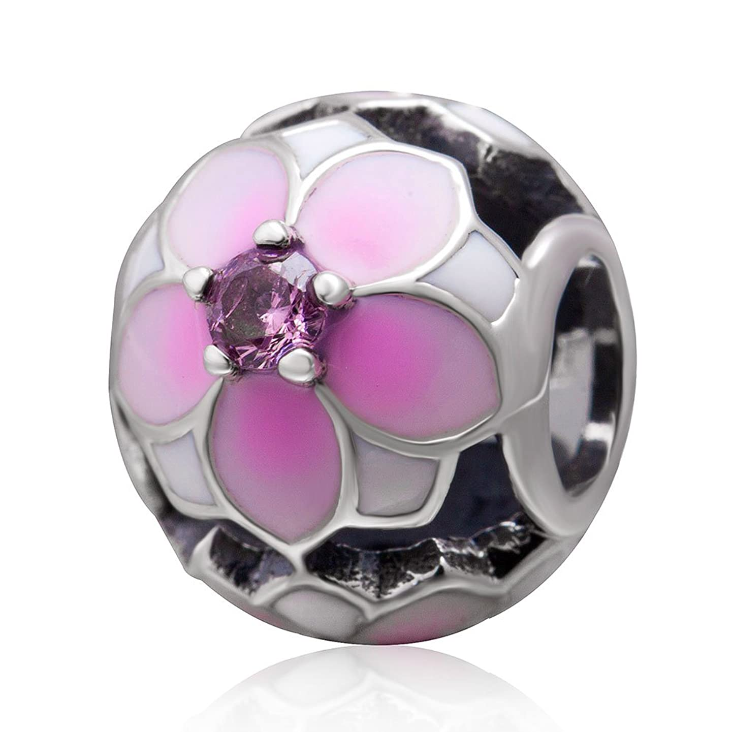 Magnolia Bloom Charms Orchid Charm Bead 925 Sterling Silver Jewelry Charm Bead for Women