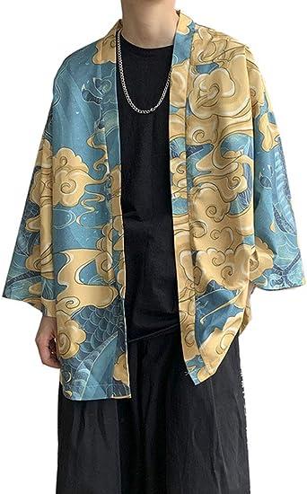 Aden Hombres Vintage Japonés Estilo Kimono Camisa Haori Chaqueta Estampado Holgado Cárdigan