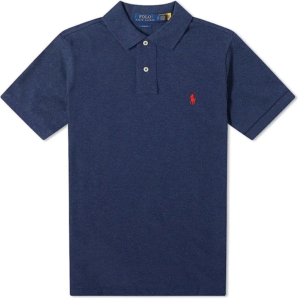 Polo by Ralph Lauren Mens Navy Slim Fit Mesh Polo Shirt