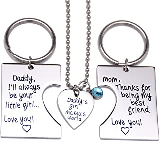 Daddy's Girl Mommy's World 3 Piece Keychain Pendant Necklace Set, Gift for Daughter, Mommys Little Girl, Mums Dad Necklaces Stainless Steel